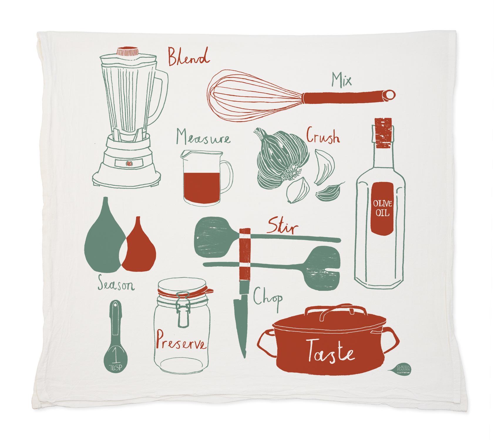 Kitchen Tea Towel | Claudia Pearson Illustration