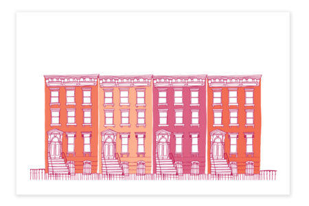 Houses All in a Row (Pink)